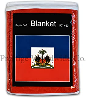 Haiti Flag Fleece Blanket 5 ft. x 4.2 ft. Haitian Travel Throw Cover
