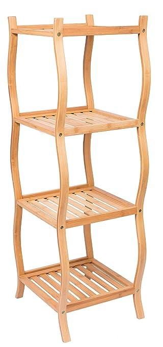 BirdRock Home Bamboo 4 Tier Storage Shelving Unit | Bathroom Shelves | Free  Standing |