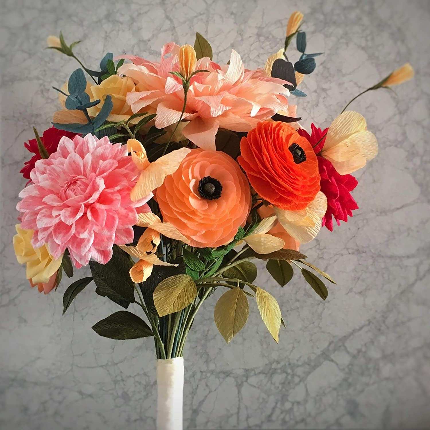 Wedding Bouquet Of Crepe Paper Flowers With Living Coral Ranunculus