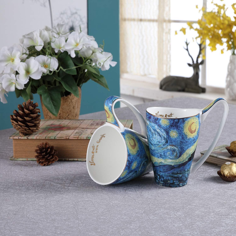 Porcelain Mugs for Coffee Cocoa 20 oz,Set of 2 Tea Large Capacity Beer Art