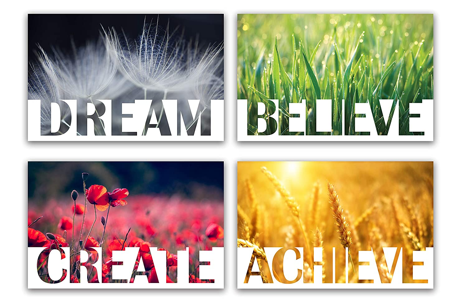 "Set of 4 Motivational Posters, Nature Scenes 17""x11"" · Wall Art Decor for Living Room, Bedroom, Kitchen, Office, School, Classroom · Inspirational Gift for Women, Men, Kids, Students, Employees"