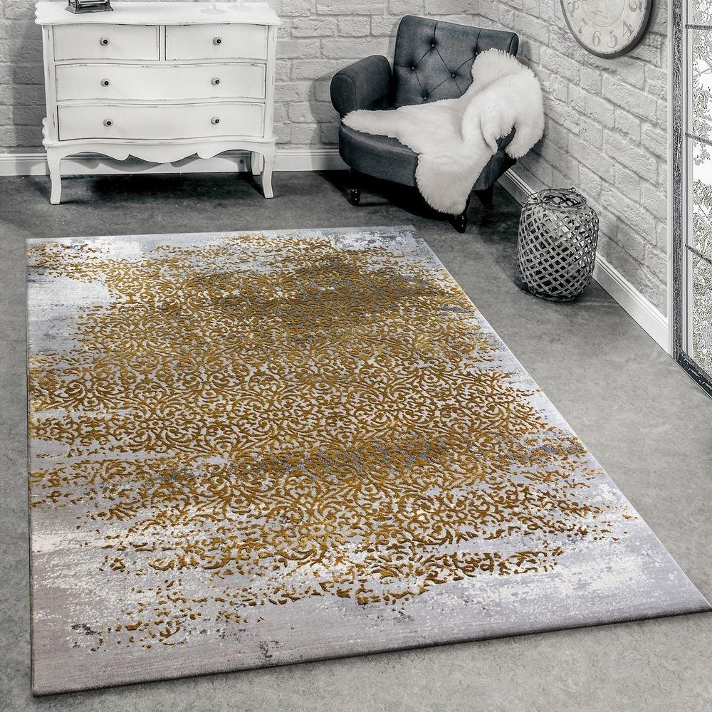 Paco Home Designer Teppich Modern Wohnzimmerteppich Mit Muster Ornamente Grau Honig-Gelb, Grösse 120x170 cm