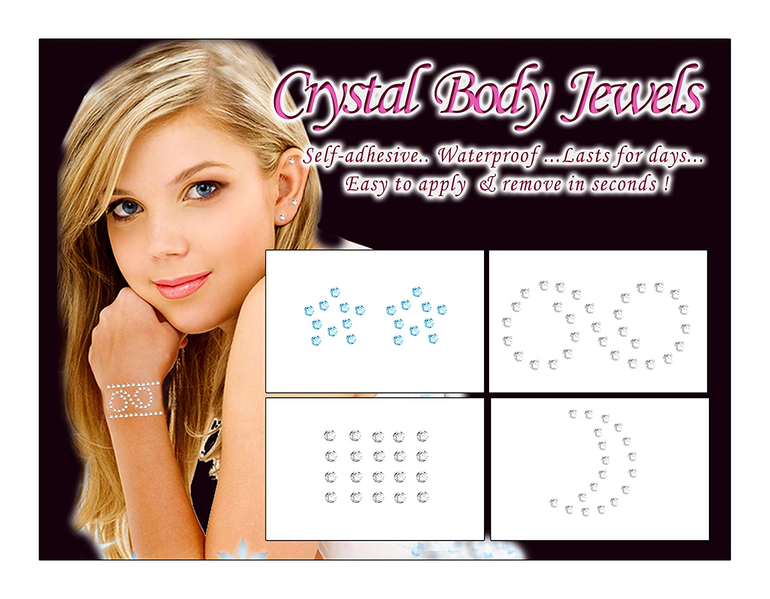 Kids – Crystal Body Sparkles Temporary Tattoos for Girls, Tweens and Teens