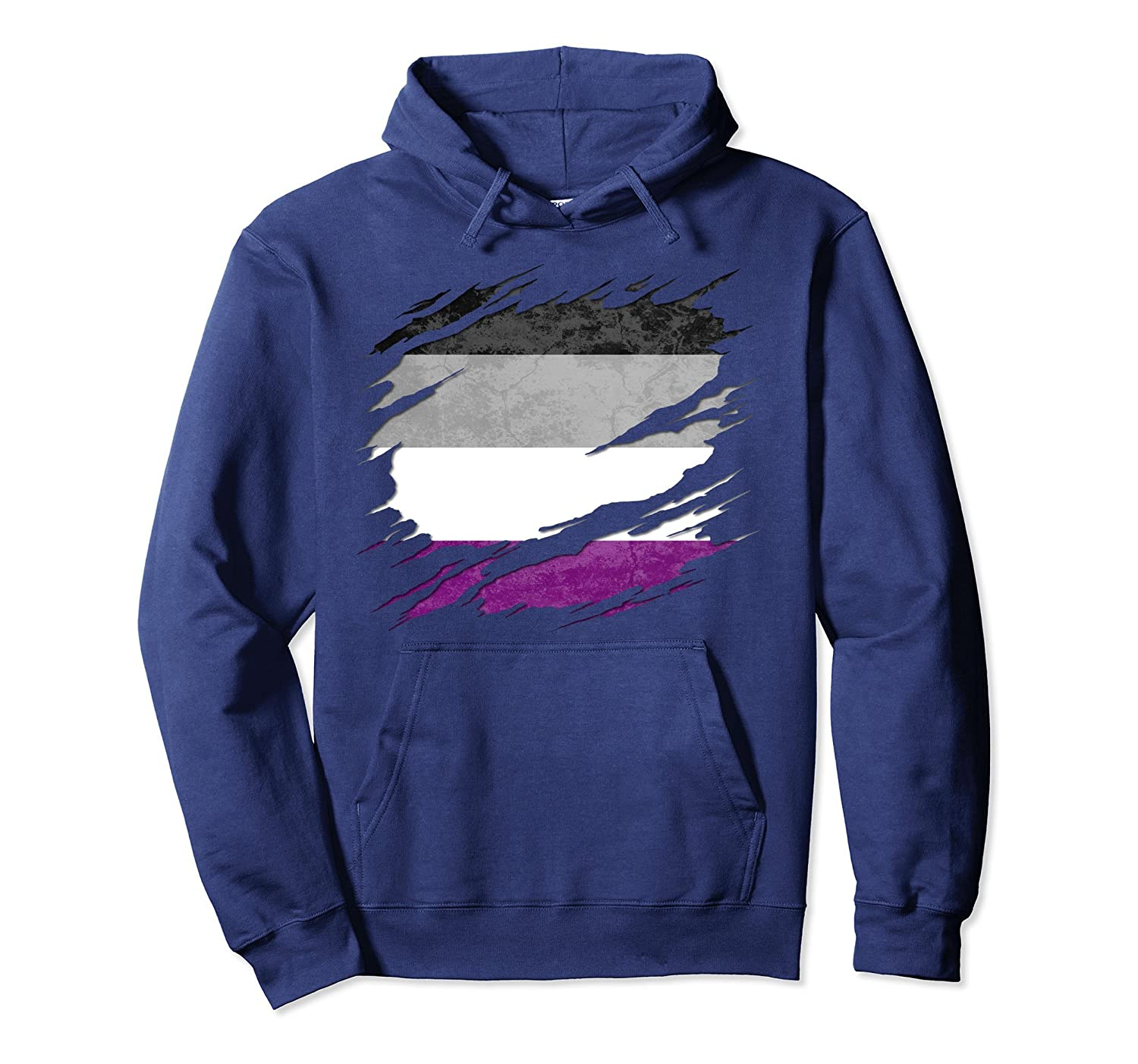 Asexual Pride Flag Ripped Pullover Hoodie-Samdetee