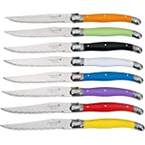 FlyingColors Laguiole Steak Knife Set, Stainless Steel, Multicolor Handle, 8 Pieces