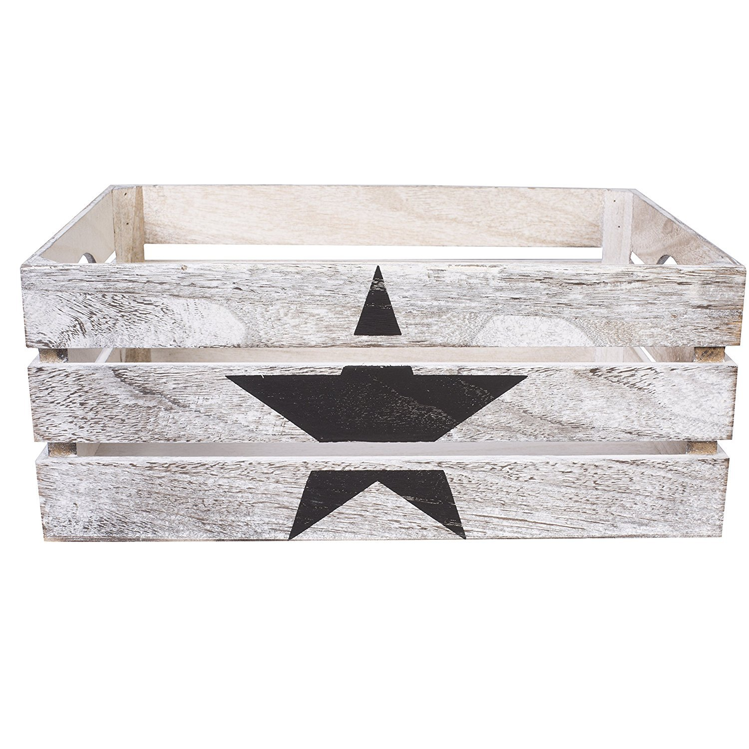 Star Paint Wooden Crates Retail Display Shelf Box Storage Christmas Gift Hamper Small