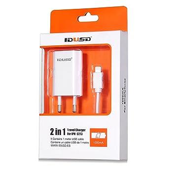 IDUSD cargador viaje micro-usb con cable enchufe europeo buena calida y durabilidad (IPH5/6/7 blanco 2 in 1)