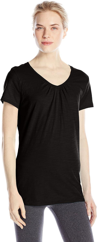 Hanes Womens Shirred V-Neck T-Shirt
