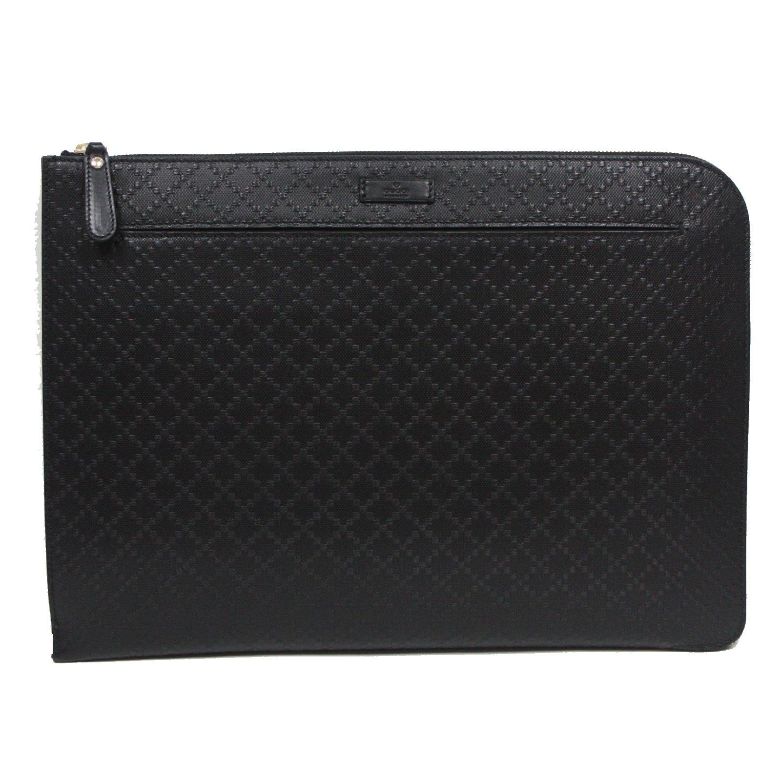 Gucci Diamante Leather Zip Portfolio Briefcase Bag 368564 1000 Black