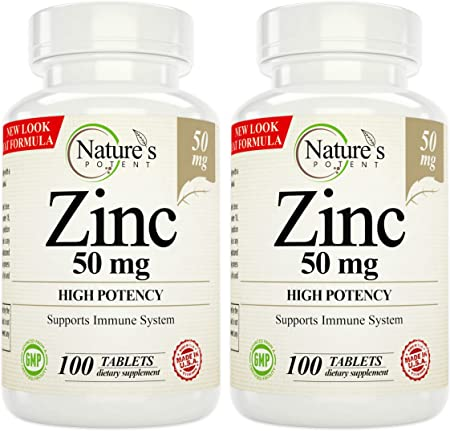 Nature's Potent Zinc 50mg Supplement, High Potency (2 Pack / 100 Tablets Each)