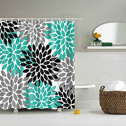 Didihou Waterproof Polyester Fabric Shower Curtain Turquoise Grey Black Dahlia Print Decorative Bathroom Anti