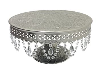 giftbay wedding cake stand round pedestal silver finish 16 with clear hanging glass crystals