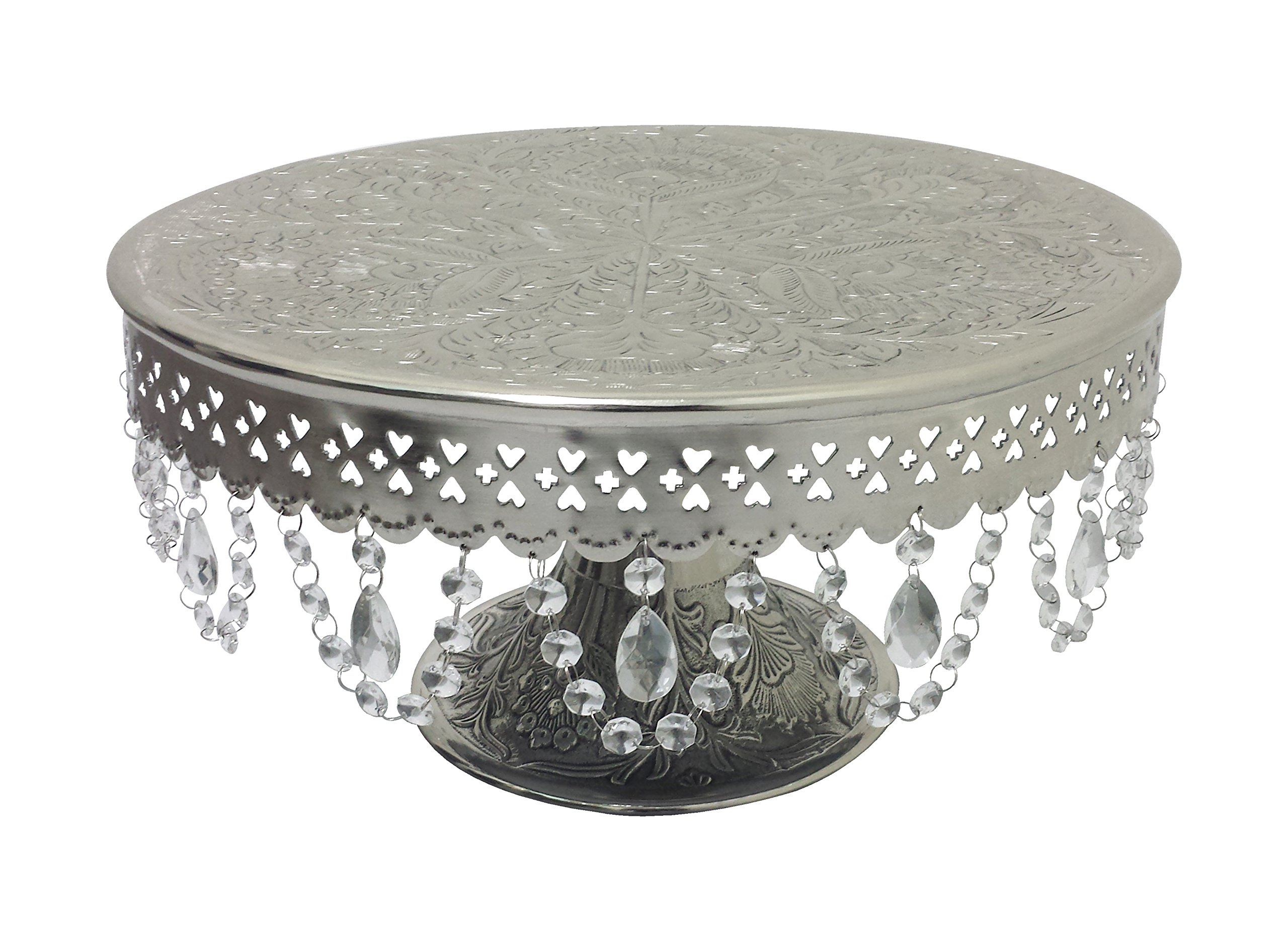 GiftBay Creations Wedding Cake Stand Round Pedestal Silver finish 18'' with Clear Hanging Glass Crystals (844-18R)