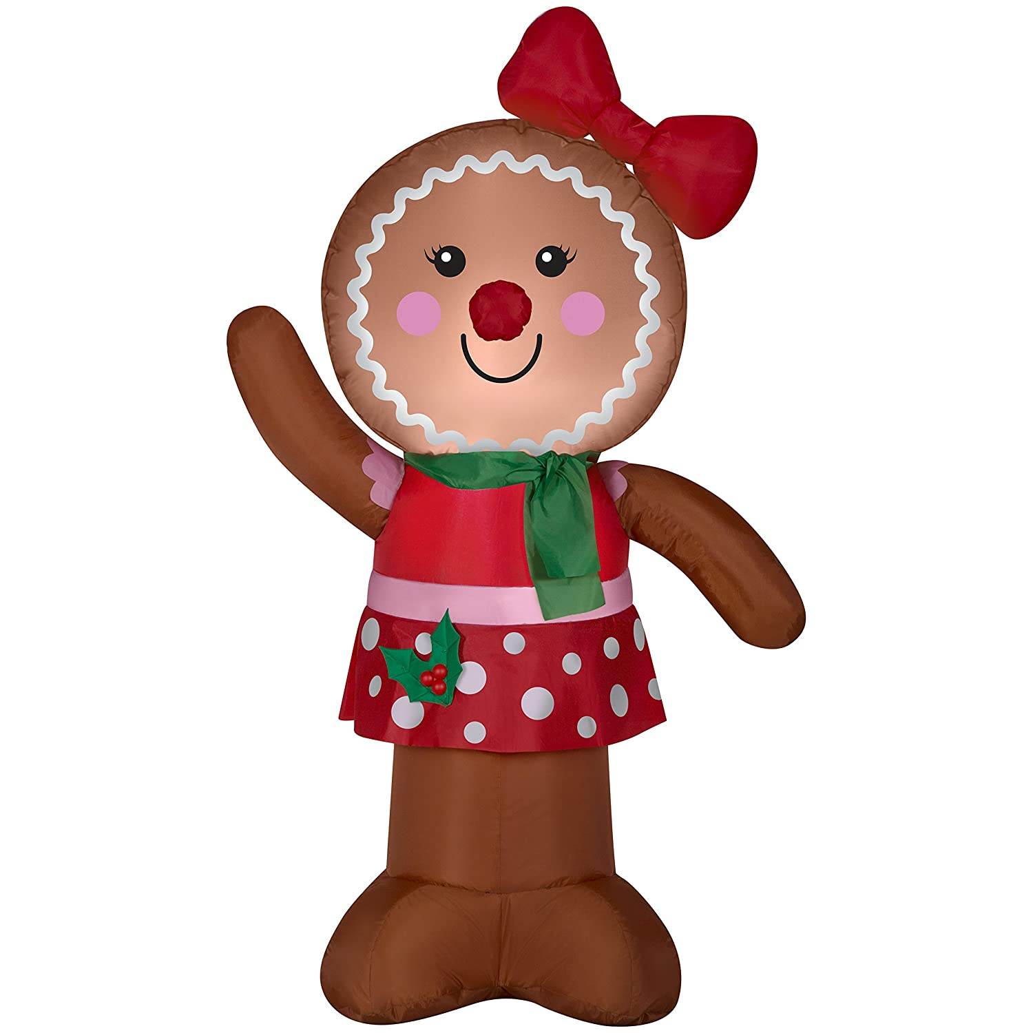 Amazoncom Christmas Inflatable 4 Gingerbread Lady W Bow Airblown Holiday