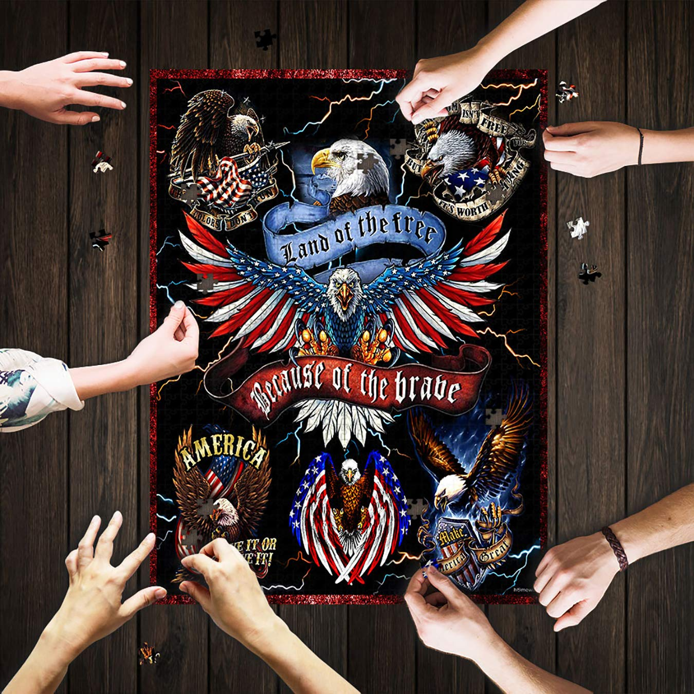 Adult Puzzles American Eagle Land Of The Free Because Of The Brave Jigsaw Puzzle 500 Pieces Games for Adults Children Funny Gifts Puzzle Mat Mod Podge