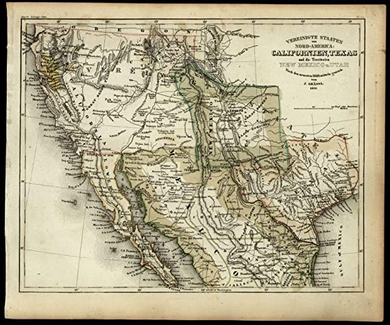 Map Of Texas New Mexico.Amazon Com California Gold Region Texas Territorial Shape New