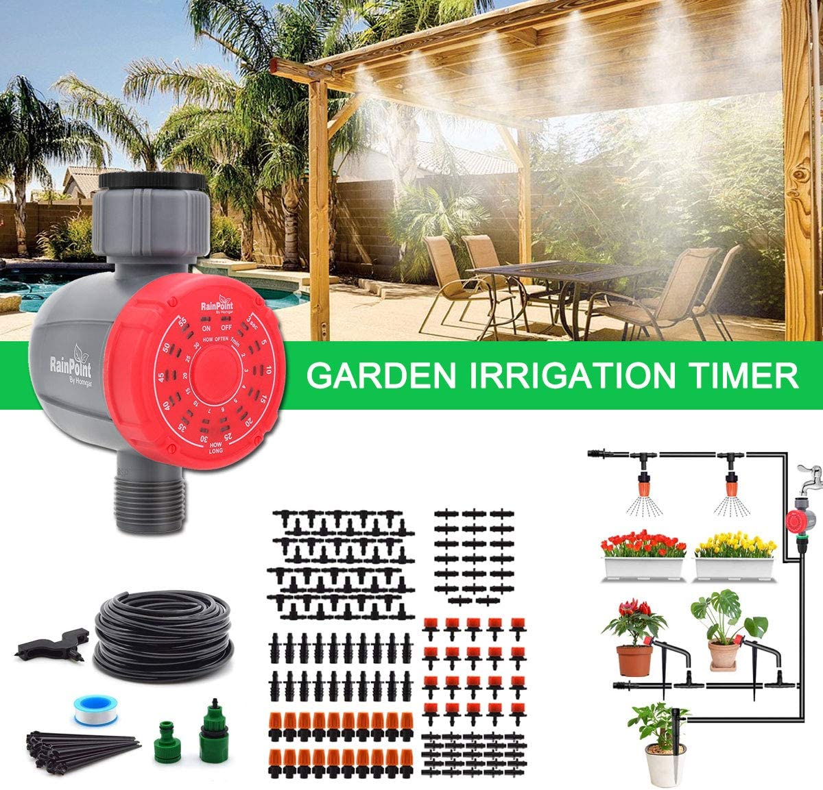 DricRoda Digital Watering Hose Timer, Programmable Watering Timer, Automatic Irrigation Hose Faucet Timer Irrigation System Controller for Greenhouse Cooling, Gardening (Red): Home & Kitchen