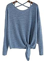 Vitans Women Drop Shoulder Criss Cross Tie Front T-Shirt (Blue, One Size)