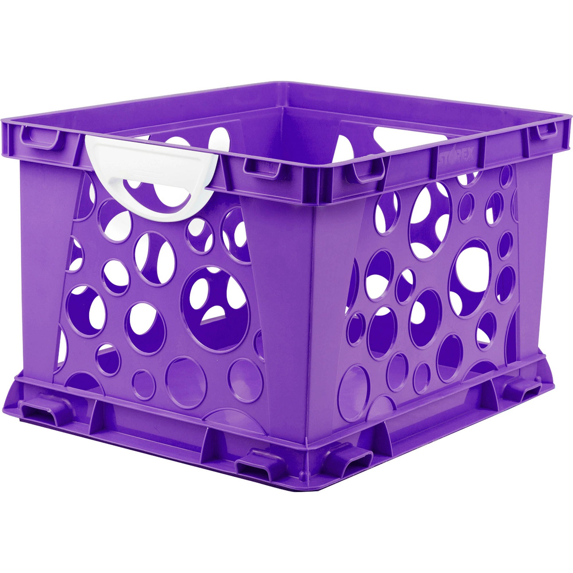 Indoor Large File Crate Storage with Handles, in Purple Color ( 3 PACK ) by Storex (Image #1)