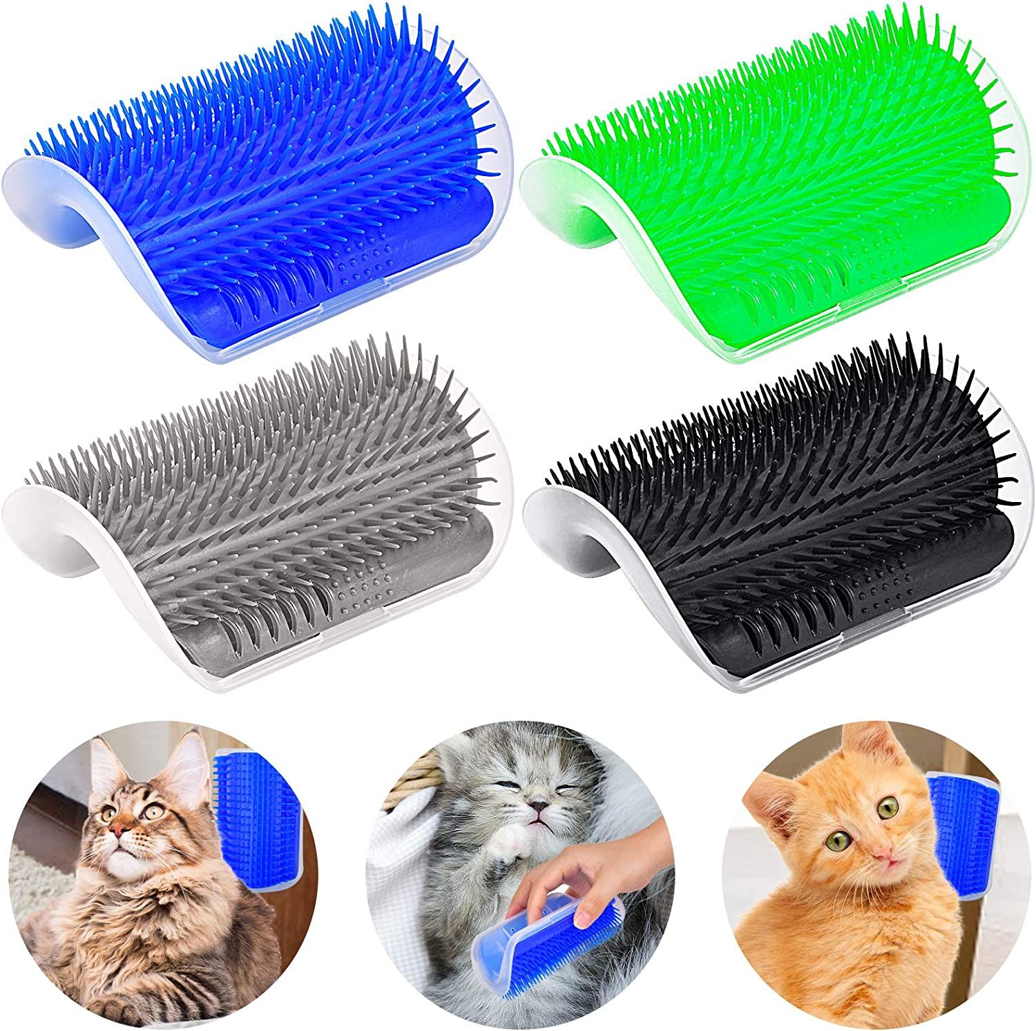 Cat Self Groomer, Cat Brushes 4PACK Cat Slicker Brush Upgraded Cats Grooming Brush Tool All-In-One, Wall Corner Scratcher Trimmer Massage Combs Softer Toy for Pet Short Long Fur Cats Dogs Kitten Puppy