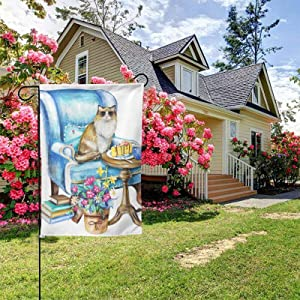 Watercolor Kitty House Flags Flower and Cute Cat Garden Flags Welcome Home Outside Decoration Flags Courtyard 12.5x18 inches
