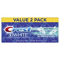 Crest 3D White Mild Mint Whitening Toothpaste, 4.8oz, Twin Pack