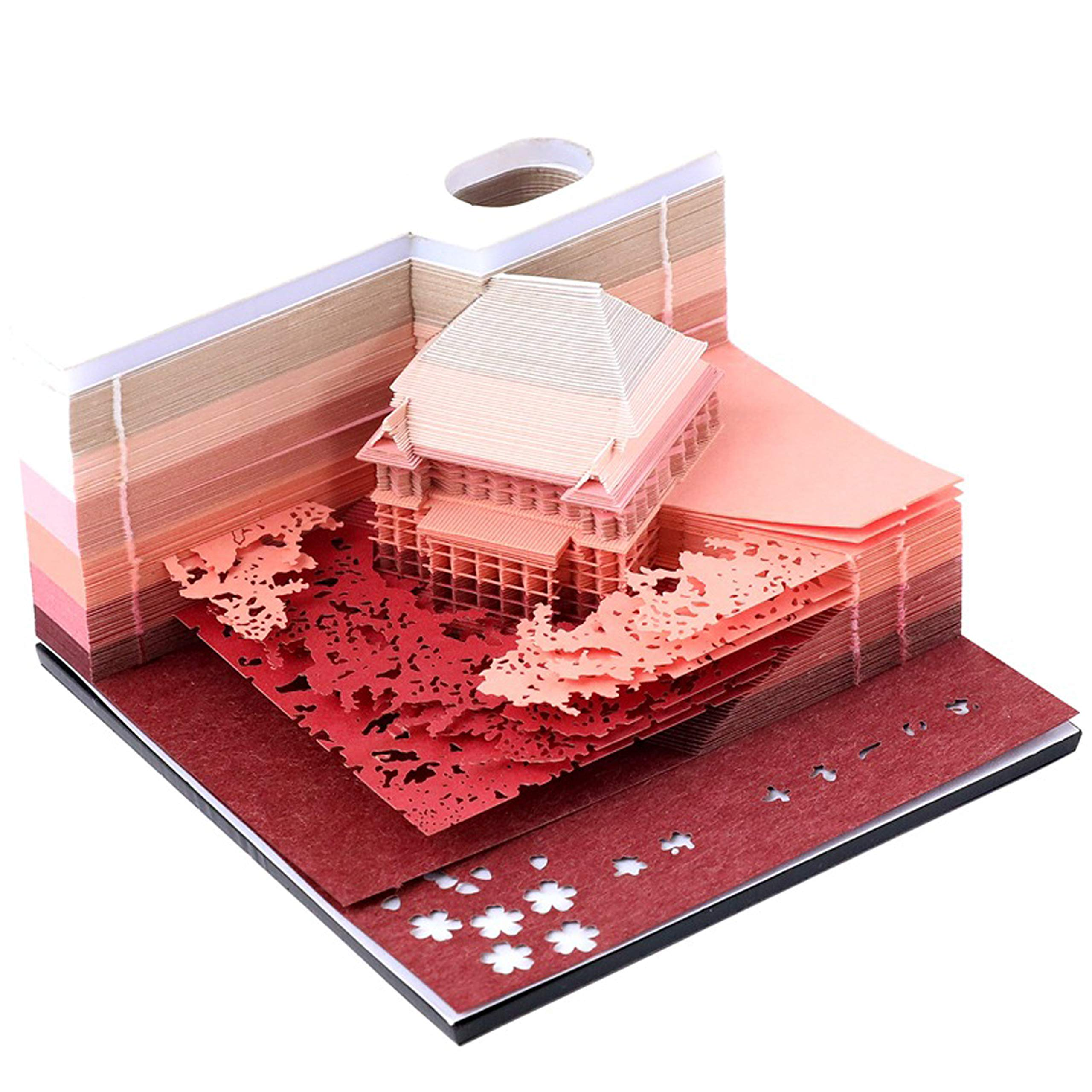 Paper Art Building Block 3D Sticky Notes DIY Japanese Paper House Convenience Stickers Papers Card Craft Creative Post notes 1Pc 150 sheets(Kiyomizu Temple Red)