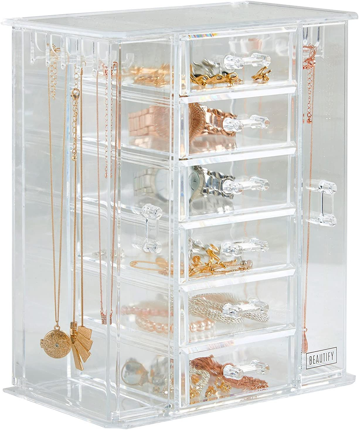 Beautify Acrylic Jewelry Organizer Chest Makeup Storage Box With 6 Drawers Necklace Holder Clear Amazon Ca Home Kitchen