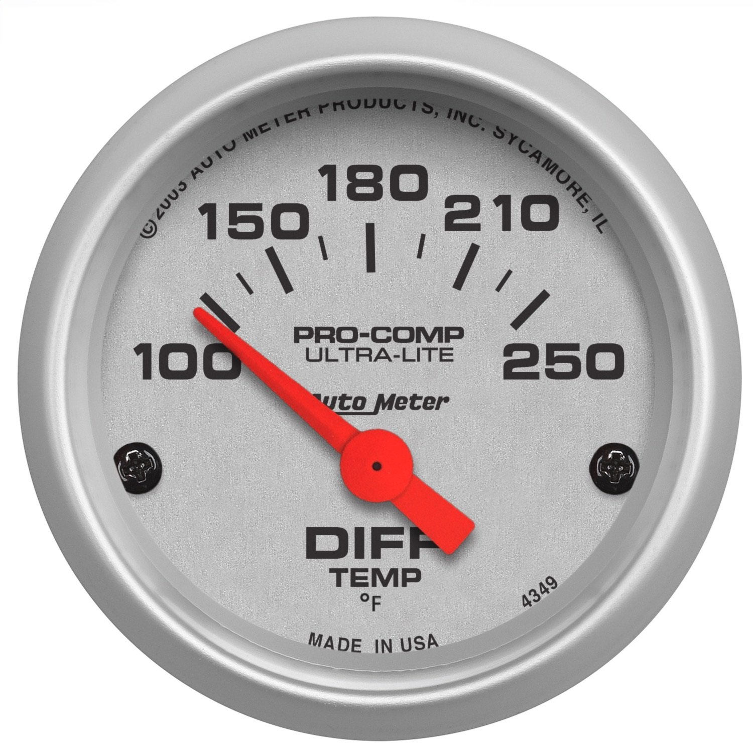 Auto Meter 4349 Ultra-Lite 2-1/16' 100-250 F Short Sweep Electric Differential Temperature Gauge