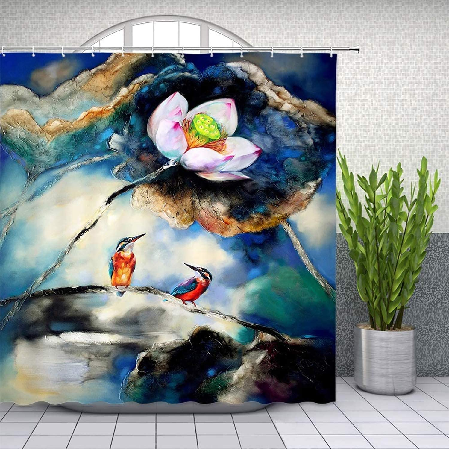BBSET Watercolor Lotus and Bird Shower Curtain Spring Botanical Garden Flower Nature Theme Waterproof Cloth Bathroom Curtain Set with Hooks 72x72 Inches