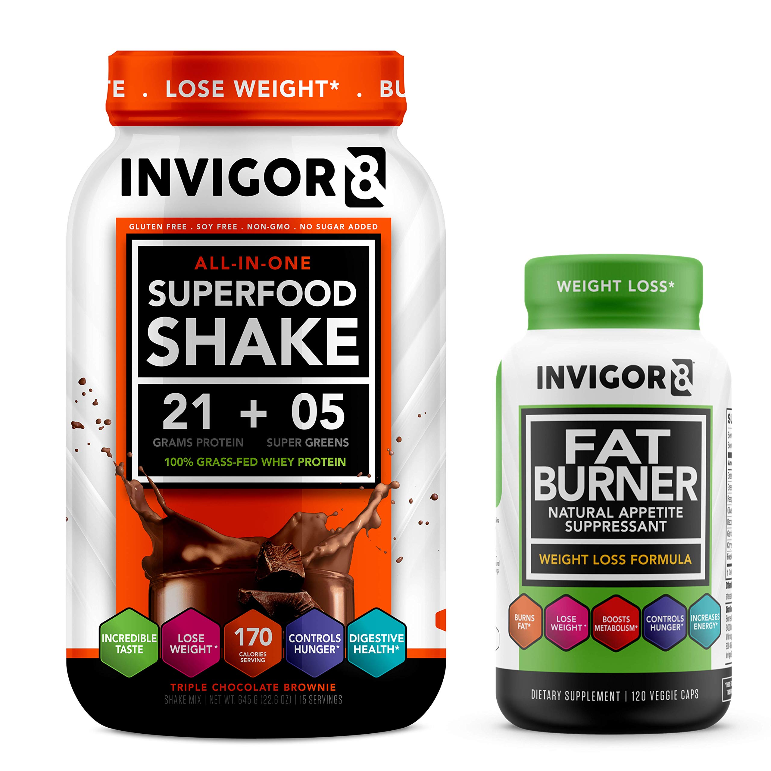 INVIGOR8 Superfood Shake (Chocolate) and Fat Burner Bundle. Gluten-Free and Non GMO Meal Replacement Shake & Healthy Garcinia Weight Loss Supplement/Appetite Suppressant.