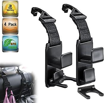 4-Pack Heroway Magic Headrest Hooks for Car