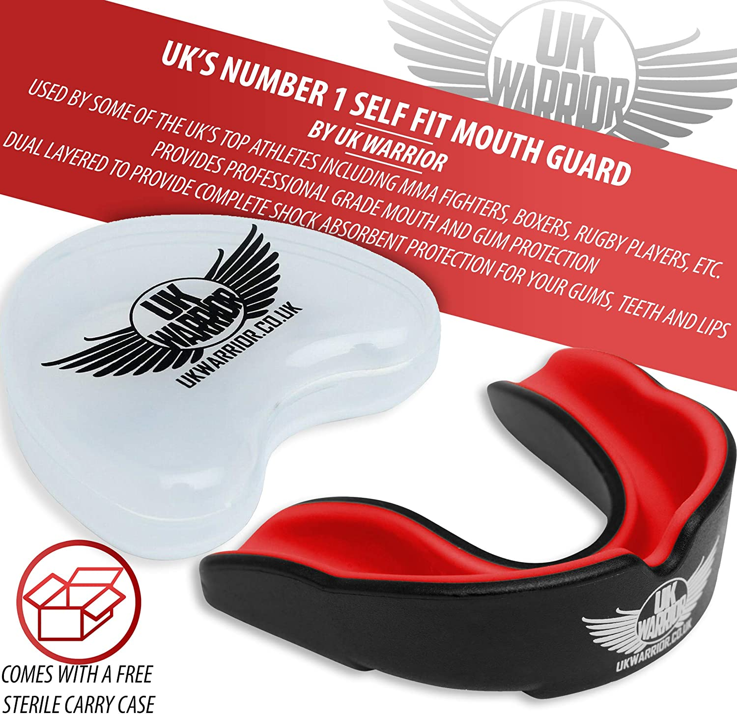 UK Warrior Gum Shield Mouth Guard RED//BLACK Teeth Protection Boxing MMA Thai Gum