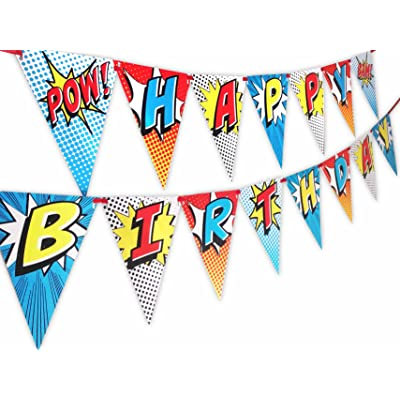 Superhero Red Happy Birthday Banner Pennant: Toys & Games