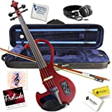Kennedy Violins Electric Violin Bunnel Edge Outfit 4/4 Full Size (RED)- Carrying Case and Accessories Included…