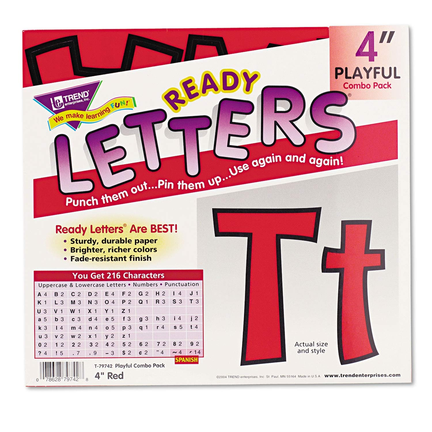 TREND Ready Letters Playful Combo Set, Red, 4h, 216/Set - T79742 Pack of 2