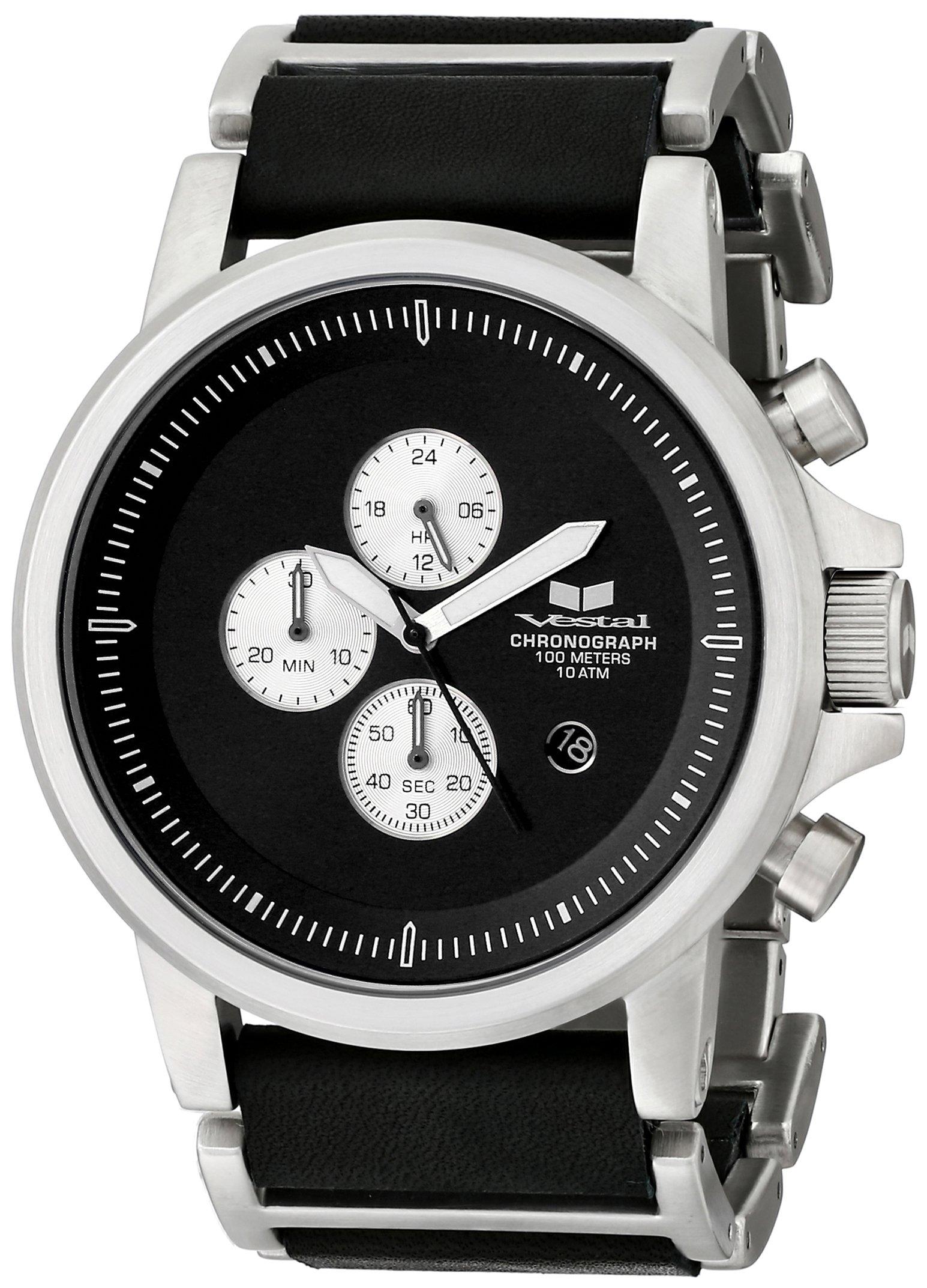 Vestal Men's PLE036 Plexi Silver with Black Leather Watch