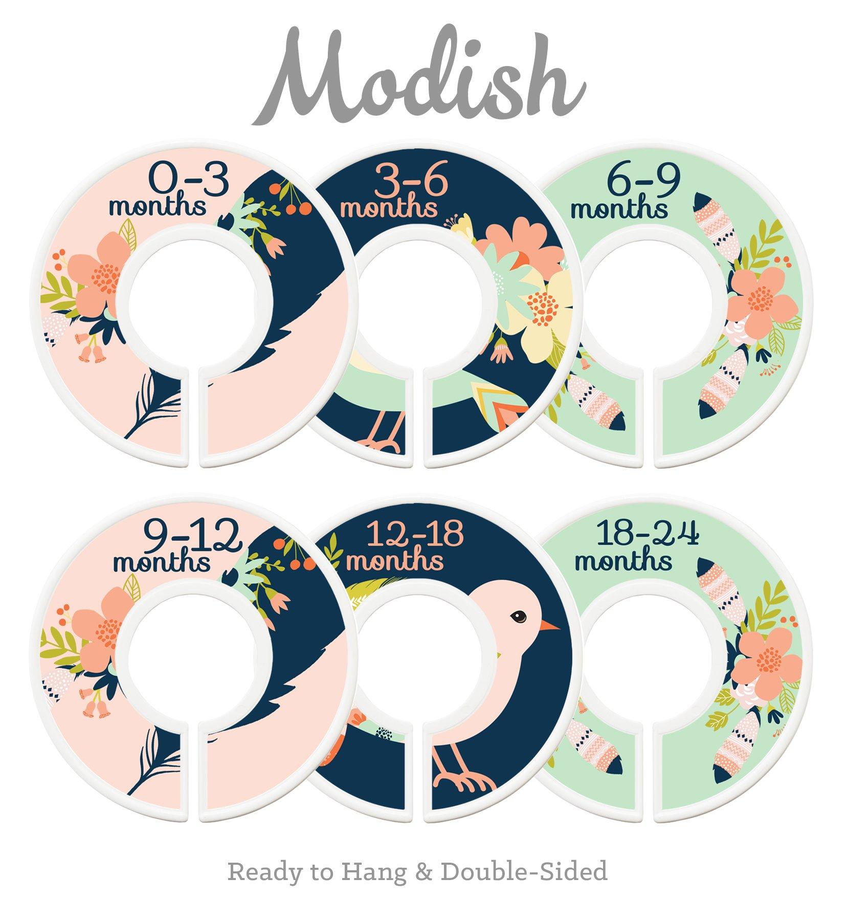 Modish Labels Baby Nursery Closet Dividers, Closet Organizers, Nursery Decor, Baby Girl, Birds, Flowers, Pink, Mint, Tribal