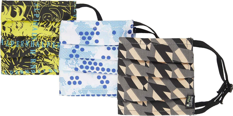Bags of Ethics Pack de 3 mascarillas faciales lavables y 2 bolsas protectoras de los diseñadores británicos Mulberry, Ræburn y Halpern.