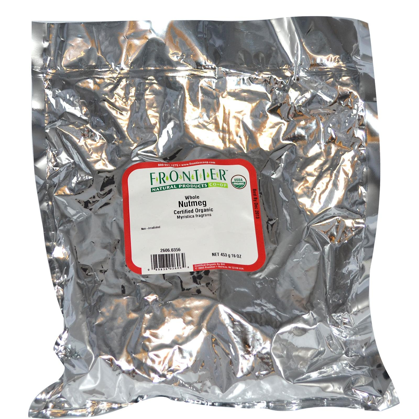 One 1lb Nutmeg whole Organic (Frontier)