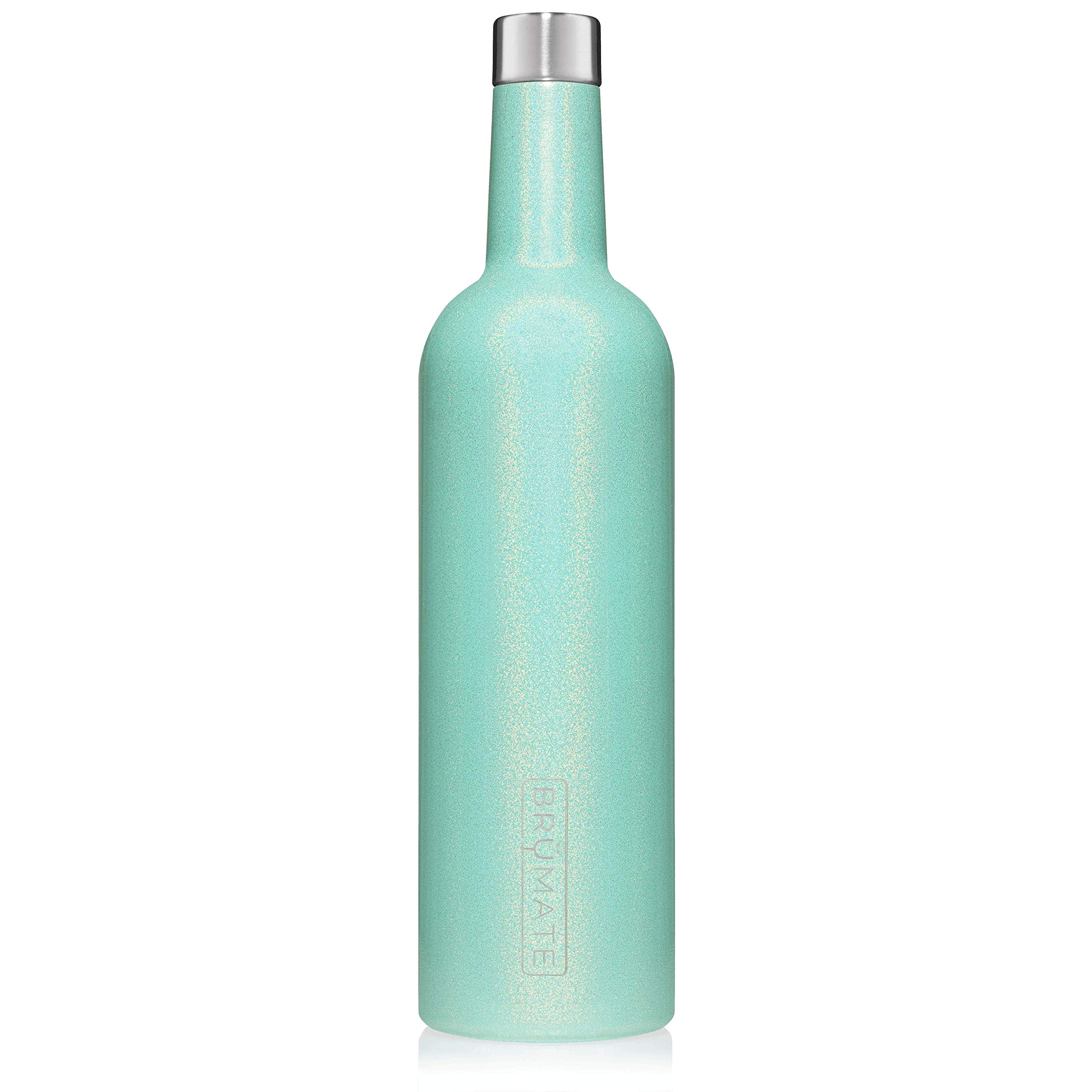 BrüMate Winesulator 25 Oz Triple-Walled Insulated Wine Canteen Made Of Stainless Steel, 24-hour Temperature Retention, Shatterproof, Comes With Matching Silicone Funnel (Glitter Aqua)