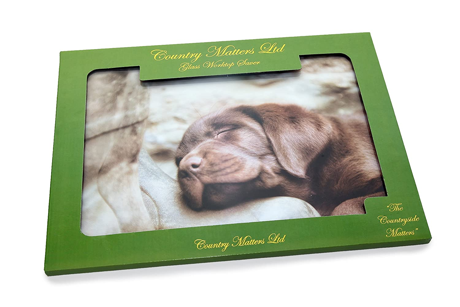 COUNTRY MATTERS Labrador Pup on Boot Glass Worktop Saver, Multi-Colour, 40 x 30 x 0.05 cm CMGWS0101