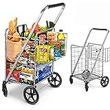 Shopping Cart, Jumbo Double Basket Grocery Cart 330 lbs Capacity Folding Shopping Cart with 360° Rolling Swivel Wheels…