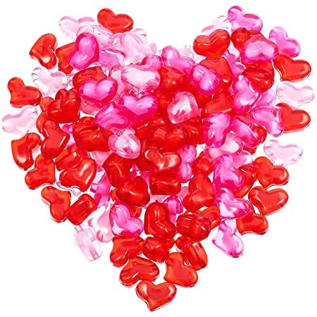 3 Colors Acrylic Heart 055 Lb About 122 Pieces For Table Scatter