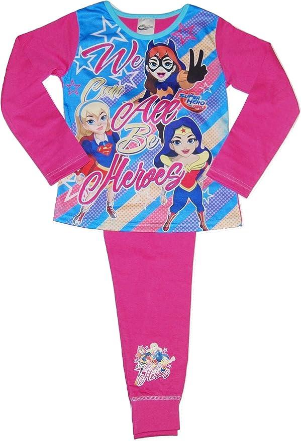 DC Super Hero Girls Pijama de niña Wonder Woman Super Girl Murciélago Rosa