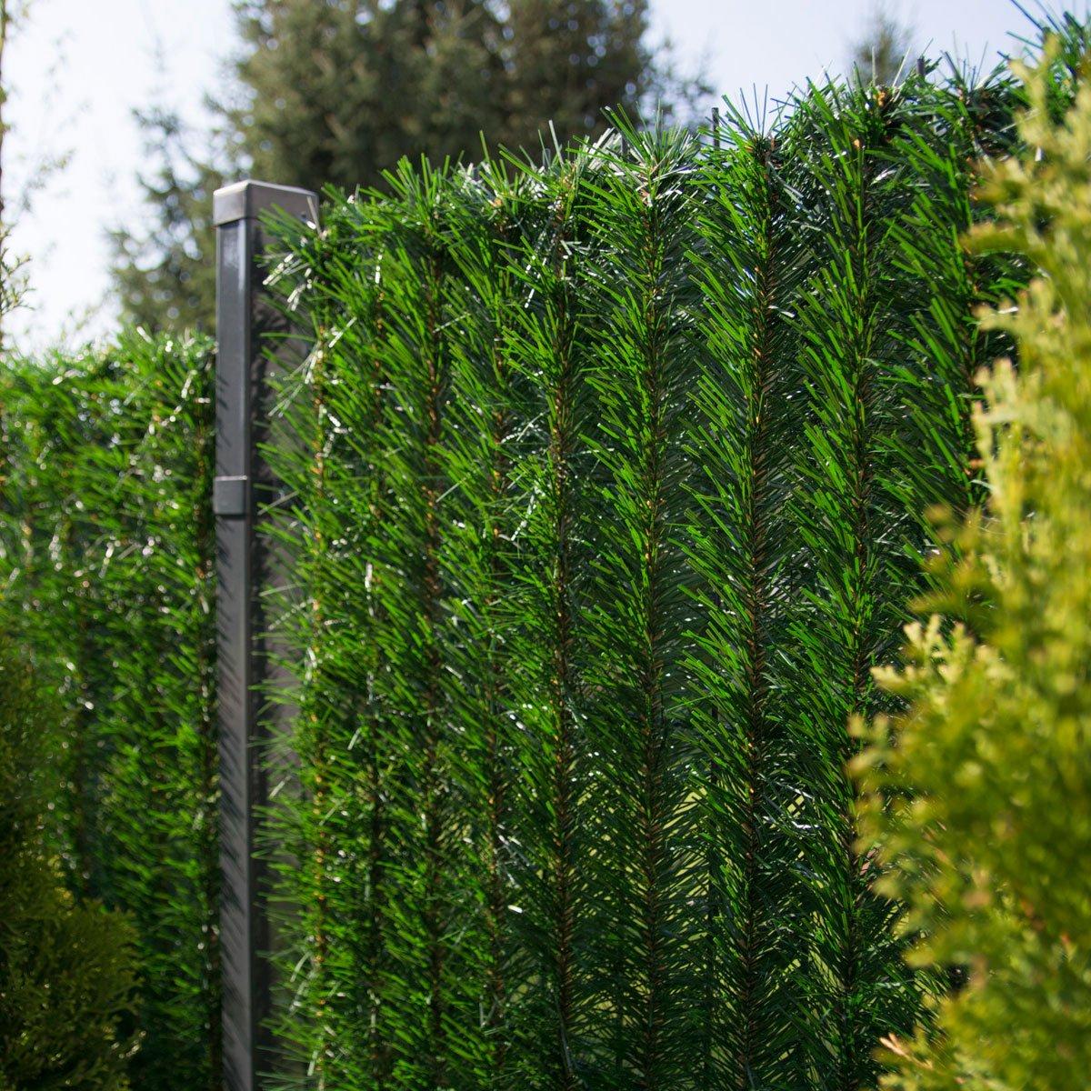 FairyTrees Copertura per Recinzione Universale Copertura per Balcone Copertura per terrazza Recinzione in PVC Artificiale Rete Metal lica, GreenFences, Verde Scuro, Altezza 80cm, 10m