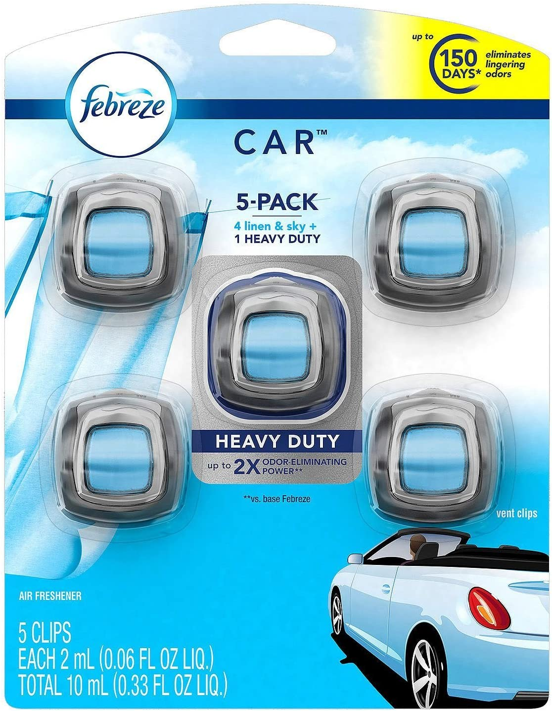 Febreze Car Air Freshener, Set of 5 Clips, 4 Linen and Sky, 1 Heavy Duty