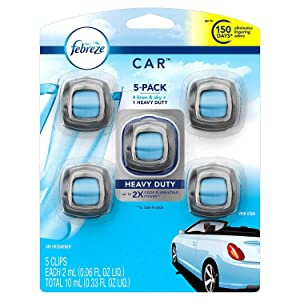 Febreze 13 Car Air Freshener, Set of 5 Clips, Linen & Sky-up to 150 Days