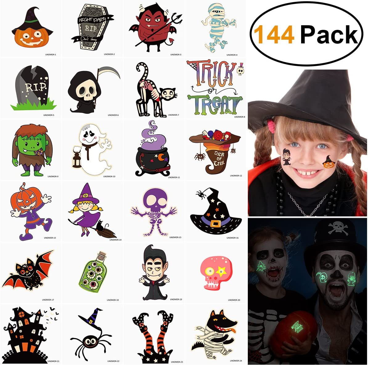 Halloween Tattoos for Kids Glow in The Dark Halloween Temporary Tattoos Party Favors 144 Assorted