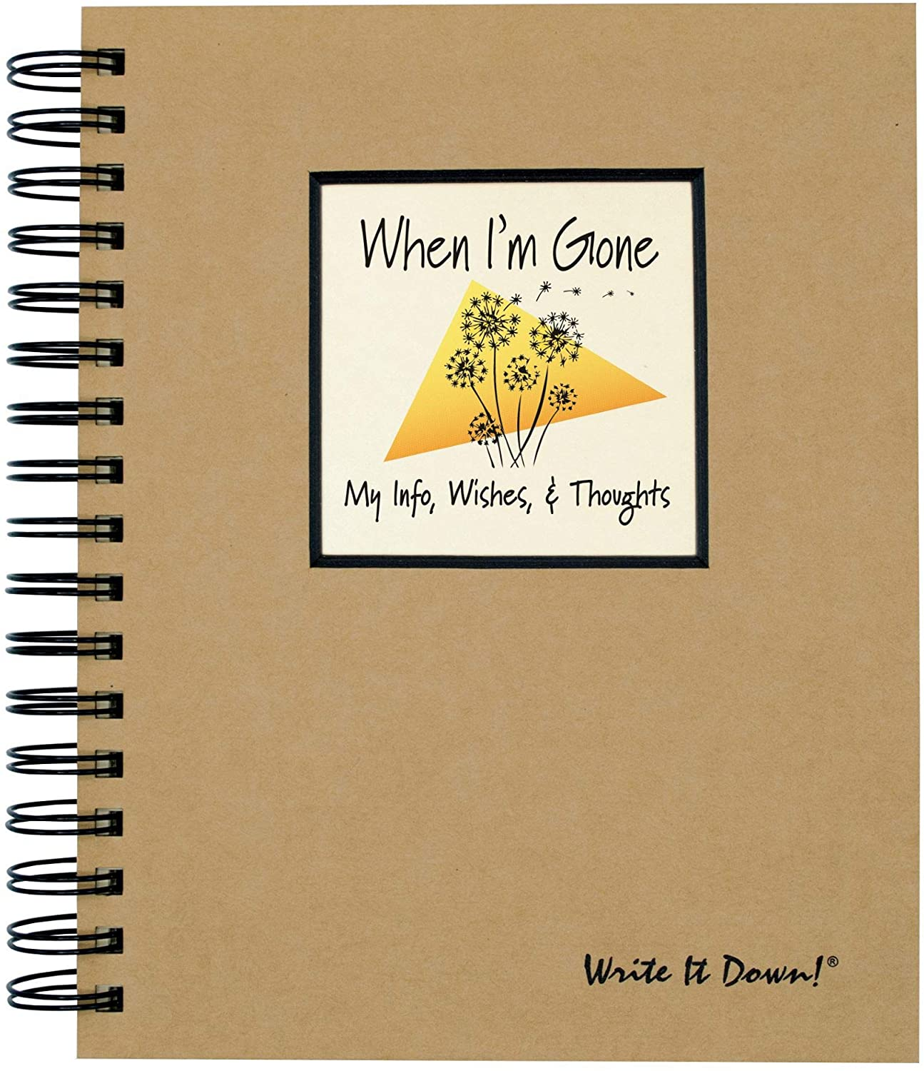 """Journals Unlimited """"Write it Down!"""" Series Guided Journal, When I'm Gone, My Info, Wishes, & Thoughts Journal, with a Kraft Hard Cover, Made of Recycled Materials, 7.5""""x 9"""""""